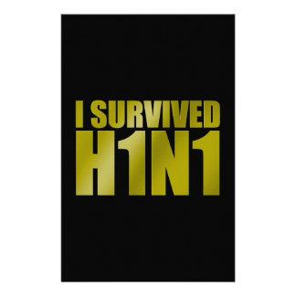 I SURVIVED H1N1 in gold on black Stationery