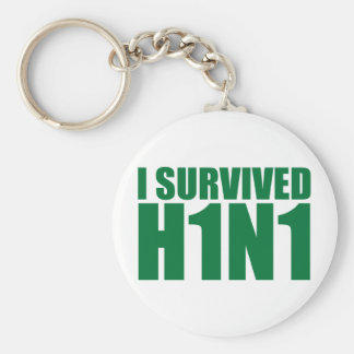 I SURVIVED H1N1 in green Basic Round Button Keychain