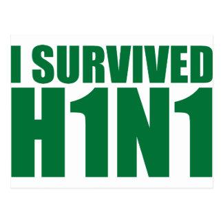 I SURVIVED H1N1 in green Postcard