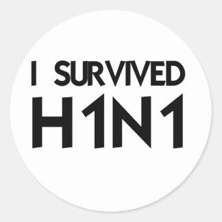 I Survived H1N1 Round Sticker