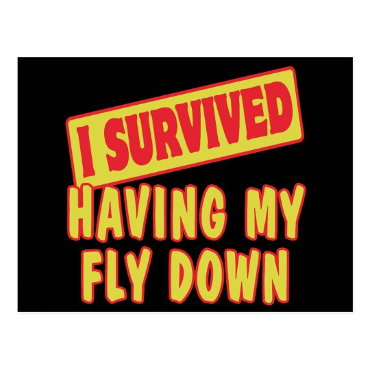 I SURVIVED HAVING MY FLY DOWN POSTCARD