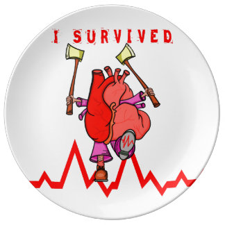 I survived heart trauma porcelain plate