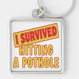 I SURVIVED HITTING A POTHOLE Silver-Colored SQUARE KEYCHAIN