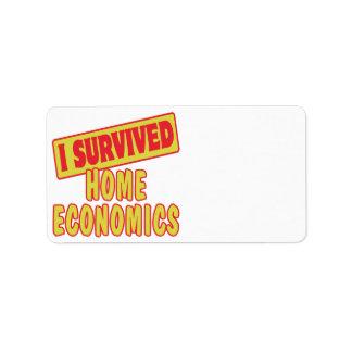 I SURVIVED HOME ECONOMICS ADDRESS LABEL