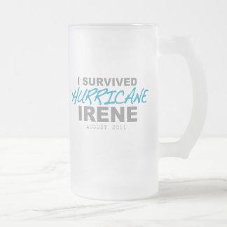 I Survived Hurricane Irene 2011 Frosted Glass Beer Mug