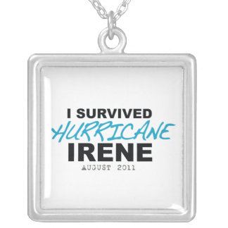 I Survived Hurricane Irene 2011 Square Pendant Necklace