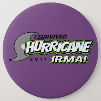 I Survived Hurricane Irma Purple Button