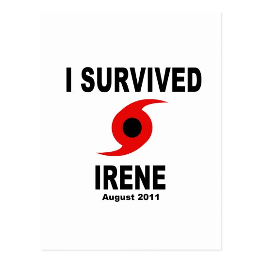 I SURVIVED IRENE August 2011 Postcard