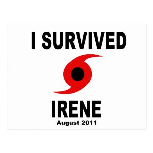 I SURVIVED IRENE August 2011 Postcard