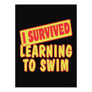 "I SURVIVED LEARNING TO SWIM 6.5"" X 8.75"" INVITATION CARD"