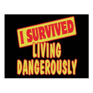 I SURVIVED LIVING DANGEROUSLY POSTCARD
