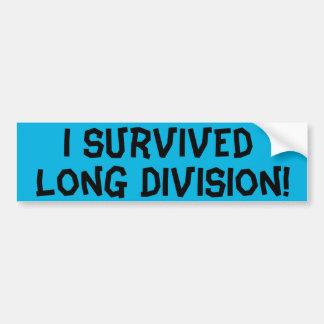 I Survived Long Division Car Bumper Sticker