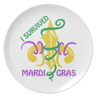 I SURVIVED MARDI GRAS PARTY PLATES