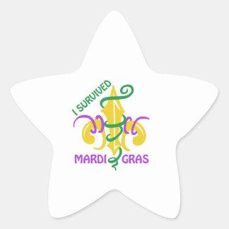 I SURVIVED MARDI GRAS STAR STICKER