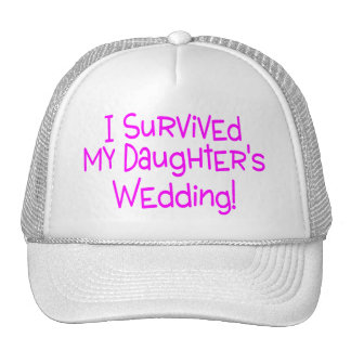 I Survived My Daughters Wedding Pink Mesh Hats