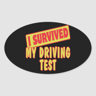 I SURVIVED MY DRIVING TEST OVAL STICKERS