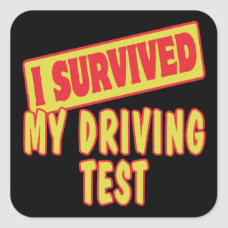 I SURVIVED MY DRIVING TEST SQUARE STICKER