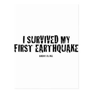 I survived my first earthquake postcard