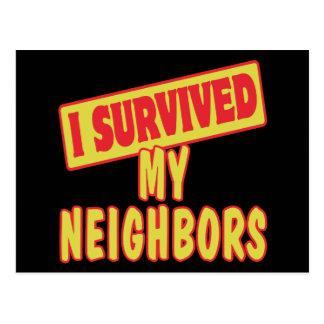I SURVIVED MY NEIGHBORS POSTCARD