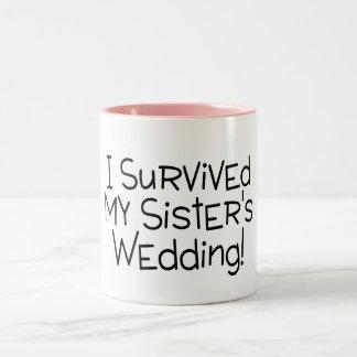 I Survived My Sister's Wedding Black Two-Tone Coffee Mug
