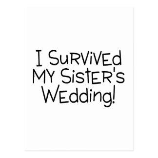 I Survived My Sister's Wedding Black Postcard