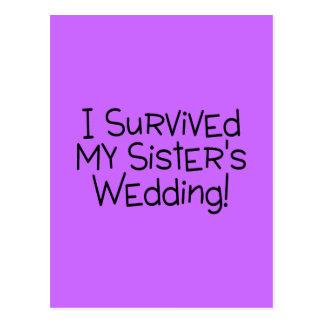 I Survived My Sister's Wedding (Black) Postcard
