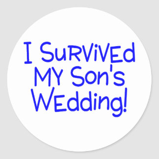 I Survived My Sons Wedding (Blue) Classic Round Sticker