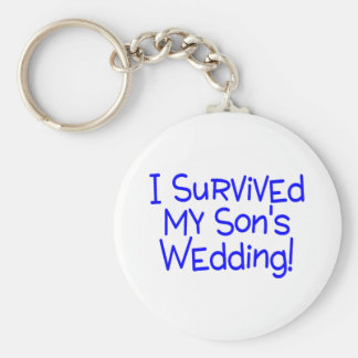 I Survived My Sons Wedding Blue Keychain