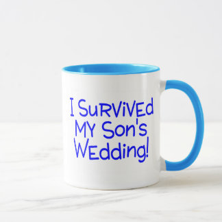 I Survived My Sons Wedding (Blue) Mug