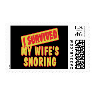 I SURVIVED MY WIFES SNORING POSTAGE STAMPS