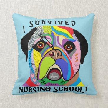 Beach Themed I Survived Nursing School Throw Pillow