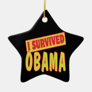 I SURVIVED OBAMA CERAMIC ORNAMENT