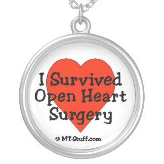 I Survived Open Heart Surgery Round Pendant Necklace