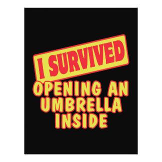 """I SURVIVED OPENING UMBRELLA INSIDE 8.5"""" X 11"""" FLYER"""