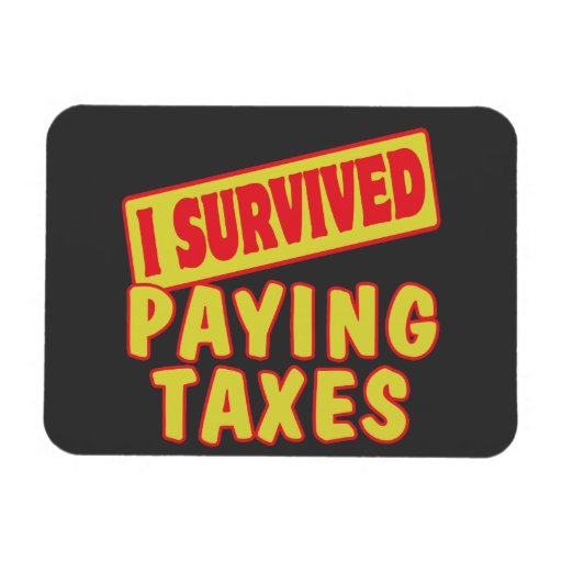 I SURVIVED PAYING TAXES RECTANGLE MAGNET