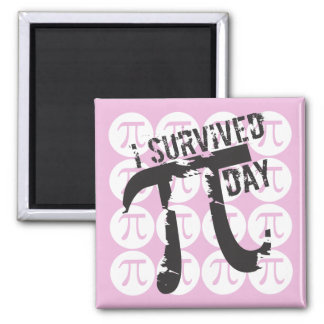 I Survived Pi Day - Funny Pi Day 2 Inch Square Magnet