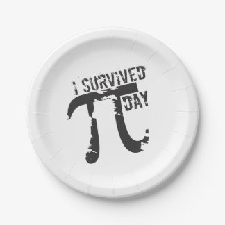 I Survived Pi Day - Funny Pi Day 7 Inch Paper Plate