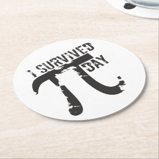 I Survived Pi Day - Funny Pi Day Round Paper Coaster