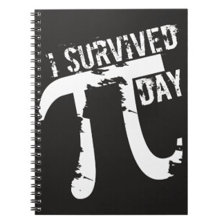 I Survived Pi Day - Funny Pi Day Typography Spiral Note Books