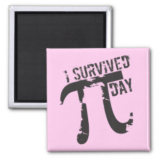 I Survived Pi Day - Pink Funny Pi Day 2 Inch Square Magnet