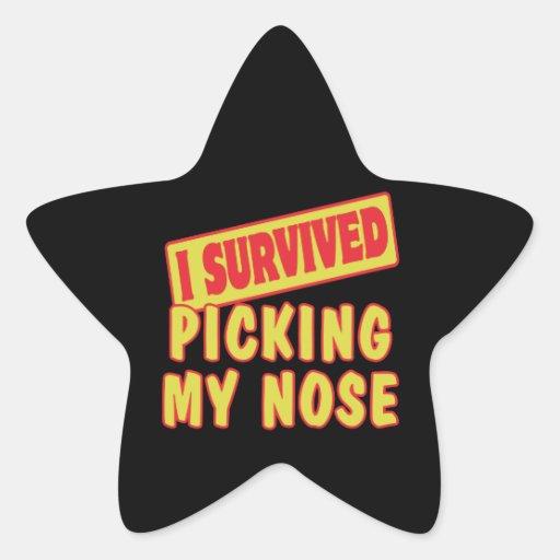I SURVIVED PICKING MY NOSE STAR STICKER