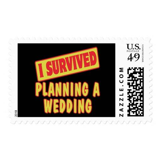 I SURVIVED PLANNING A WEDDING POSTAGE STAMP