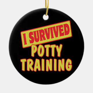 I SURVIVED POTTY TRAINING Double-Sided CERAMIC ROUND CHRISTMAS ORNAMENT