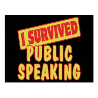 I SURVIVED PUBLIC SPEAKING POSTCARD
