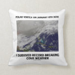 I Survived Record Breaking Cold Weather Throw Pillows