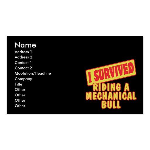 I SURVIVED RIDING A MECHANICAL BULL Double-Sided STANDARD BUSINESS CARDS (Pack OF 100)