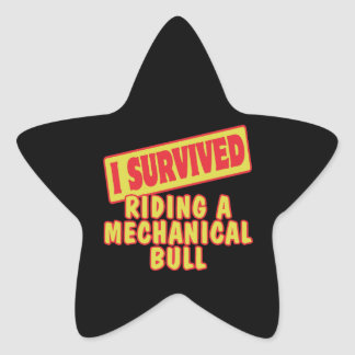 I SURVIVED RIDING A MECHANICAL BULL STAR STICKER