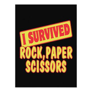 I SURVIVED ROCK PAPER SCISSORS 6.5X8.75 PAPER INVITATION CARD