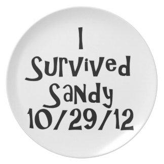 I Survived Sandy 10-29-12 Black.png Dinner Plate