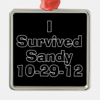 I Survived Sandy 10-29-12.png Square Metal Christmas Ornament